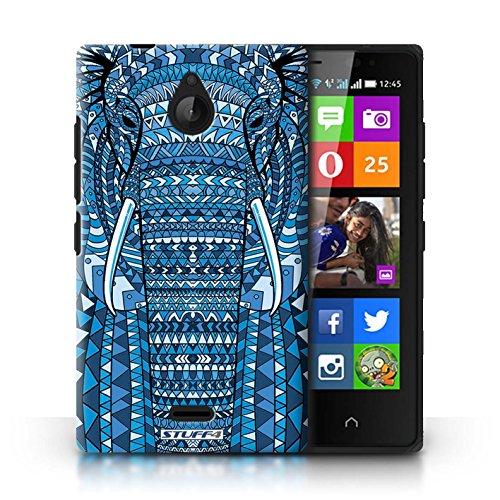 Kobalt® Imprimé Etui / Coque pour Nokia X2 Dual Sim / Loup-Mono conception / Série Motif Animaux Aztec éléphant-Bleu