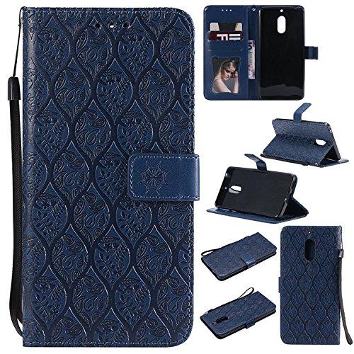 Guran PU Leder Tasche Etui für Nokia 6.1(2018 Version)/Nokia 6(2018 Version) Smartphone Flip Cover Stand Hülle und Karte Slot Rattan Case - Dunkelblau