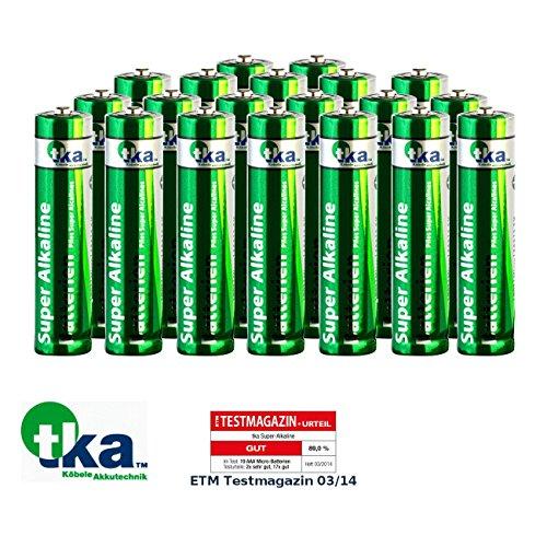 tka Köbele Akkutechnik Batterien R3: Super-Alkaline-Batterien Micro 1,5V Typ AAA, 20 Stück (Batterie-Set AAA)