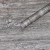 KYKDY Hölzerne Tapete der Weinlese-3d selbstklebende graue hölzerne Planken-Aufkleberwohnzimmerschlafzimmerküche Wanddekoration, hellgrau, Vereinigte Staaten