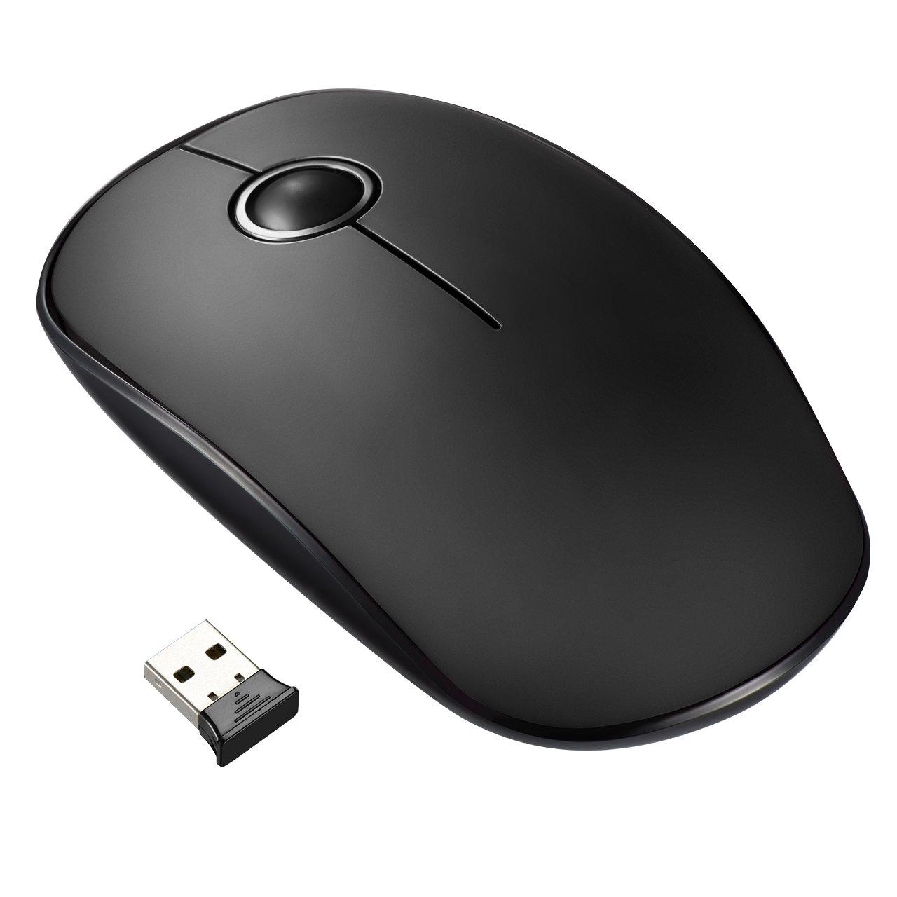VicTsing Ratón Inalámbrico Delgado Mini 2.4G con Receptor Nano, Tecla Silenciosa y Preciso, 1600 dpi, Ordenador Portátil/PC/Tableta- Negro