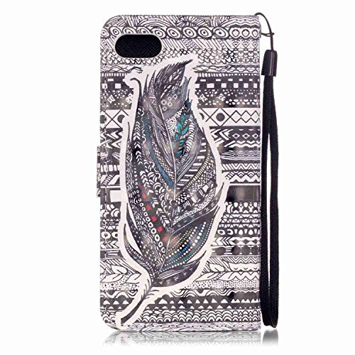 Hülle für iPhone 7, Tasche für iPhone 7, Case Cover für iPhone 7, ISAKEN Malerei Muster Folio PU Leder Flip Cover Brieftasche Geldbörse Wallet Case Ledertasche Handyhülle Tasche Case Schutzhülle Hülle Feder Dessin