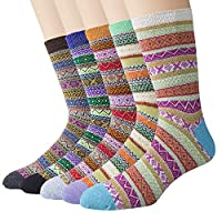 Justay 5 Pairs Merino Wool Socks, Thicken Thermal Womens Crew Sock for Hiking Backpacking Climbing Winter