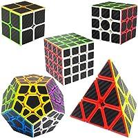LSMY Speed Cubes 2x2x2 3x3x3 4x4x4 Pyraminx Megaminx, Puzzle Magic Cubes Carbon Fiber Sticker Toy