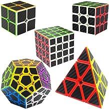 Speed Cubes 2x2x2 + 3x3x3 + 4x4x4 + Pyraminx + Megaminx, LSMY 5 Pack Puzzle Mágico Cubo Carbon Fiber Sticker Toy