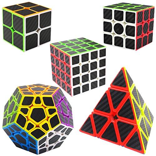 LSMY Zauberwürfel Magic Speed Cube Triangle Pyramide Pyraminx + Dodekaeder Megaminx + 2x2x2 + 3x3x3 + 4x4x4, Speedcube 5 Pack Set Puzzle Würfel Carbon Faser Aufkleber 3D IQ Spielzeug