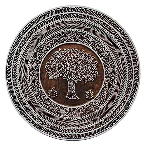 Intagliato a mano in legno, motivo albero Stampa rotonda timbro in legno block-choose Size, Legno, Brown, 6