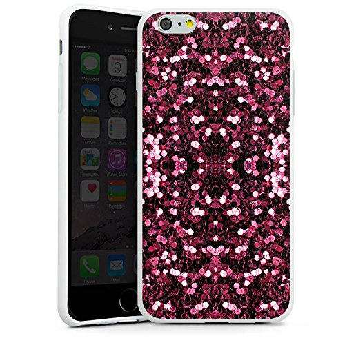Apple iPhone X Silikon Hülle Case Schutzhülle Glitzer Muster Glitter Silikon Case weiß
