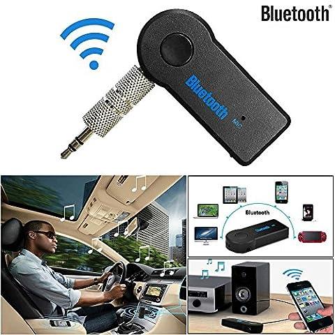 Covermason Mini Récepteur Audio Bluetooth sans fil 3,5 mm AUX Audio stéréo musique Accueil voiture récepteur adaptateur micro
