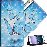 COTDINFOR Nokia 2 Hülle für Geschenk Lederhülle 3D-Effekt Painted Kartenfächer Schutzhülle Protective Handy Tasche Schale Standfunktion Etui für Nokia 2 Three Blue Butterflies YX.