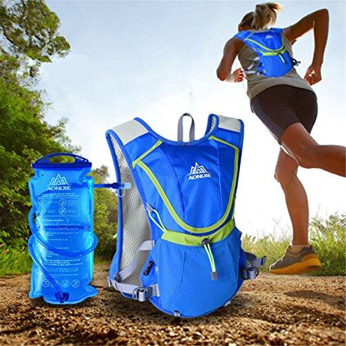 Imagen de aonijie hombres y mujeres marathon ciclismo  ligera para correr + 1.5l hidratación bolsa de agua, azul