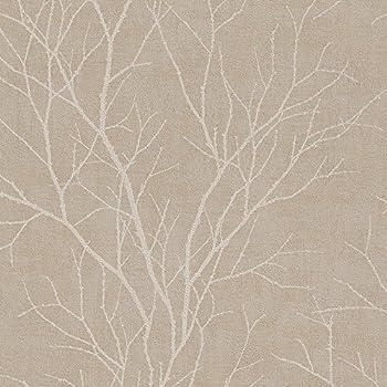 Rasch Zweig Ast Muster Tapete Modern Nicht Gewebt Texturiert   Taupe Weiß  455908