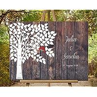 70x50 cm Gästebuch Hochzeitsbaum Wedding Tree Alternative Gästebuch | Leinwanddruck - Baum Leinwand Holz-Effekt