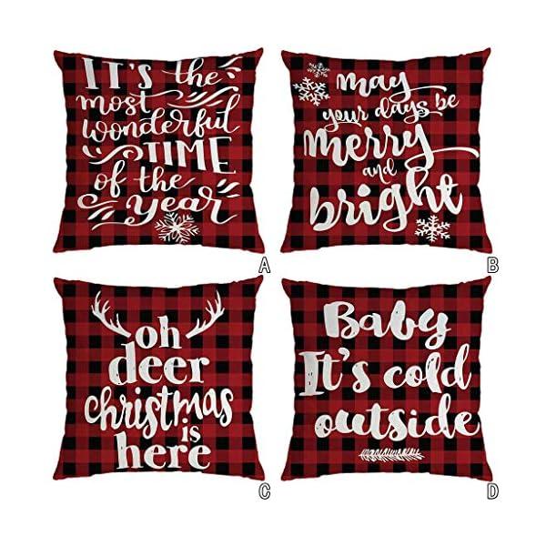 IJKLMNOP Christmas Pillow Square Pillow Case Lino Mat 45x45cm es Adecuado para oficinas, Casas, automóviles, cafeterías… 11