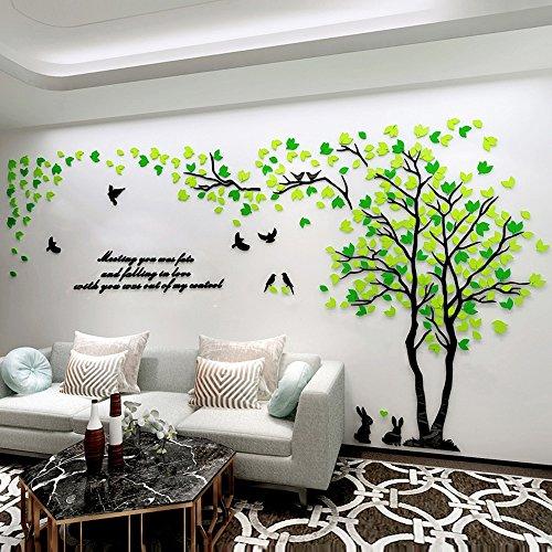 Alicemall 3d adesivi murali wall sticker con forma albero adesivo da parete in acrilico foresta verde e gialla