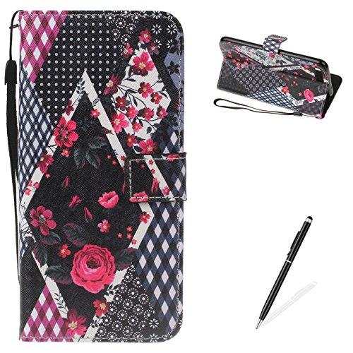 Cover iPhone 8 Plus 7 Plus 5.5 Flip Case Morbido Portafoglio Custodia in Pelle PU , MAGQI Telefono Porta Carte di Credito Titolare Pittura 3D Shell Protettivo - DONT TOUCH IL MIO TELEFONO Rose