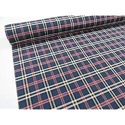 Metraje 0,50 mts tejido cuadros Ref. Escocés color Azul, con ancho 2,80 mts.