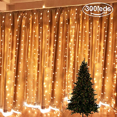 Tenda luci natale da esterno natale luci stringa led catene luminose interno per natale ornamento luce luci illuminazion speciale luci per albero di natale(300 leds, 9.84
