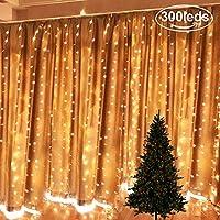 Cortina de luces, AGM 3 * 3M 300LED Cadena de Luces, Luces de Navidad 8 Modos de lluminación Blanco Cálido, IP65 Impermeable para Decoración Fiesta, Bodas, Navidad