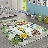 Paco Home Tappeto per Bambini, Giungla con Animali, Beige e Crema, Dimensione:160x230 cm