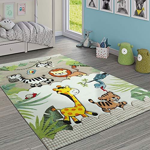 Paco Home Kinderteppich Kinderzimmer Dschungel Tiere Giraffe Löwe AFFE Zebra Beige Creme, Grösse:140x200 cm