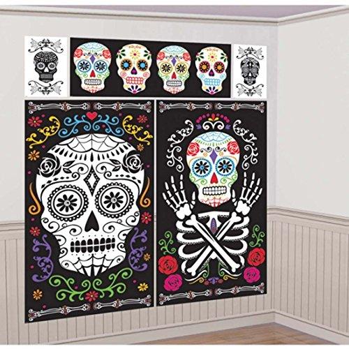 NET TOYS 5 Tag der Toten Wandbilder Halloween Dia de los Muertos Wandtattoo Wanddeko Mexikanisches Totenfest Deko Wandfolie La Catrina Party Deko Wand Scene Setter Wandtattoos