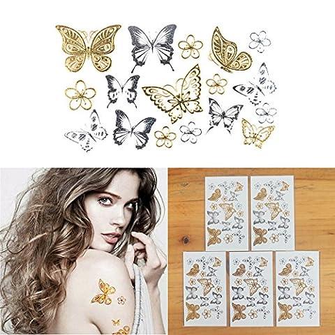 COKOHAPPY 5 Feuilles Minuscule Fleur Papillon Or Argent Flash Métallique Temporaire Tatouage