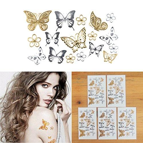 COKOHAPPY 5 Blätter Sehr Klein Blume Schmetterling Gold Silber Flash Metallic Temporäre Tattoo