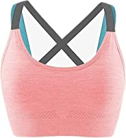 Glamroot Women's Padded full Coverage Quick Dry Padded Shockproof Racer Back Sports Bra with Removable Soft Cups for Gym, Yo