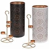 LS-LebenStil Teelichthalter Kerzenständer Metall Weiß Kupfer Windlicht-Halter