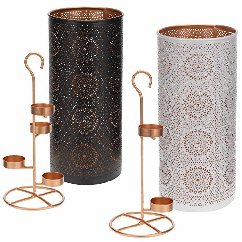 LS-LebenStil Teelichthalter Kerzenständer Metall Schwarz Kupfer Windlicht-Halter