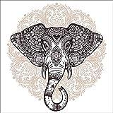 Artland Qualitätsbilder I Wandtattoo Wandsticker Wandaufkleber 30 x 30 cm Tiere Wildtiere Elefant Digitale Kunst Weiß C4TX Vintage Mandala Elefant