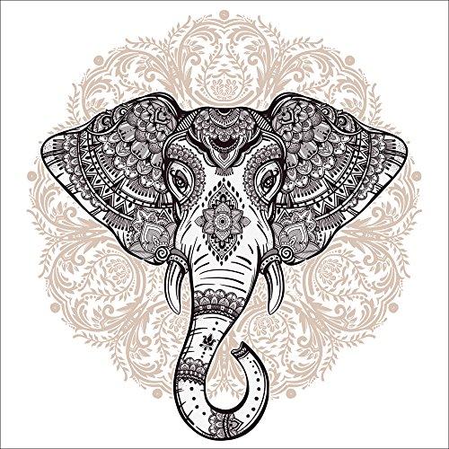 Artland Qualitätsbilder I Wandtattoo Wandsticker Wandaufkleber 50 x 50 cm Tiere Wildtiere Elefant Digitale Kunst Weiß C4TX Vintage Mandala Elefant