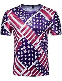 LuckyGirls Camisetas Hombre Originales 3D Estampado de Multicolor Casual Verano Camisas para Copa Mundial FIFA 2018