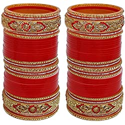 Lucky Jewellery Red Plastic Chura Set for Women