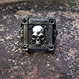 SSSLG Schädel-Ring, 925 Silberne ursprünglicher handgemachtes Herr der Ringe Dark Gothic Herren Persönlichkeit Ring, exakte Größe, handgravierten Siegelring,17