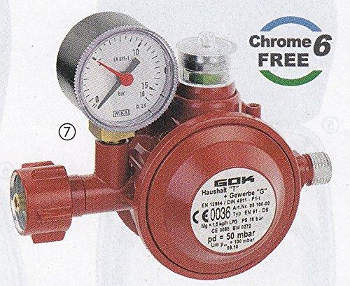 GOK Gasinstallation - 30 mbar Niederdruckregler 1,5 kg/h - mit integrierter Überdrucksicherheitseinrichtung -