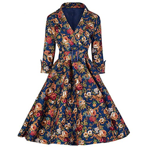 Dissa M116618D Robe de bal Vintage pin-up 50's Rockabilly robe de soirée cocktail,S-XXL Fleur
