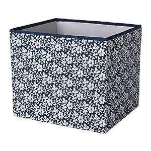 ikea dr na box in dunkelblau mit blumenmuster 33x38x33cm k che haushalt. Black Bedroom Furniture Sets. Home Design Ideas