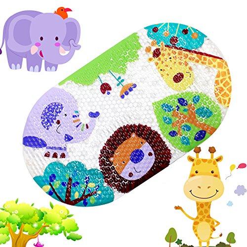 TOPSKY Rutschfeste Badematte, Kinder Dusche Matte mit Saugnäpfen Bright Cartoon bedruckt für Badewanne Kinder Matte, 39x 69cm Colorful Zoo