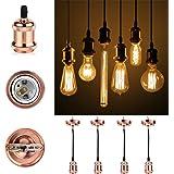 GreenSun LED Lighting Vintage 4Stück,E27 Lampenfassung Antike Edison Halter Lampe Zubehör mit 1.35 Meter 3-adriges Kabel für Pendelleuchte Hängelampe, R4 keramik 4er