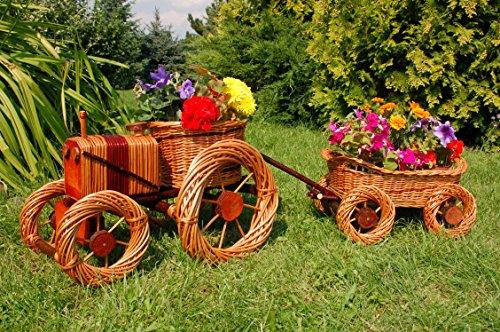 Traktor+Hänger aus Korbgeflecht, Gesamtlänge ca. 120 cm, Rattan, Weidenkörbe, bepflanzen möglich, Pflanzkorb, Blumentopf, Blumentopf, Pflanzkübel, Pflanztrog, Pflanzgefäß, Pflanzschale, Pflanzkasten, Übertopf, Pflanzkarre, Blumenkasten, (Garten Traktor)