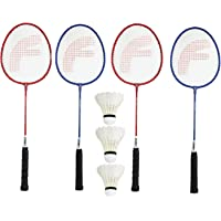 FEROC Fighter Aluminum Badminton Racket Set of 4 with- 3 Pieces Feather SHUTTLES