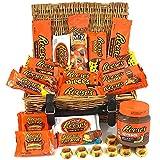 Confezione Grande Assortita di Snack Americani Reeses | Barrette Cioccolato Idea Regalo di Natale e Compleanno | Selezione di Cioccolatini al Burro di Arachidi | 25 pezzi in un Vero Cesto di Vimini