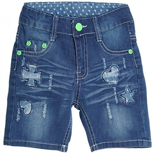 Kinder Mädchen Kurze Hose Bermuda Shorts Sommer Capri Pump Pants Jeans 20391, Farbe:Blau;Größe:158