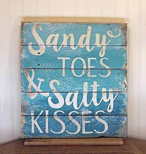 'Wandschild aus Holz,Sandy Toes and Salty Kisses Holz-Schild, 30x 30cm, Kunststoff-Schild -