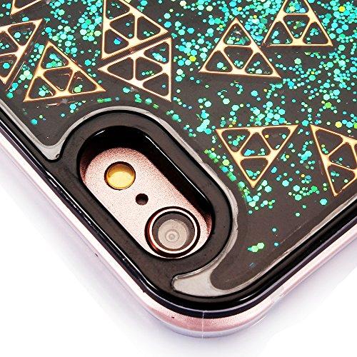 """Hülle für iPhone 6sPlus, Ultra Hybrid Klarkristall CLTPY iPhone 6Plus Shining Glitter Quicksand Schwimmenden Flüssigen Fall, TPU & PC Plastik Handytasche für 5.5"""" Apple iPhone 6Plus/6sPlus (Nicht iPho Grünes Dreieck"""