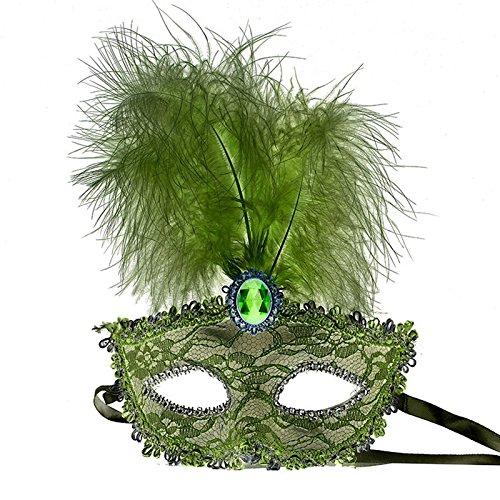Venezianische Maskerade Prinzessin Maske Halbe Gesichtsmaske Maskenspiel Bühnen-Performance für Männlich und Weiblich Grün (Maske Für Maskerade Männlich)