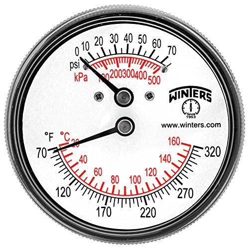 Winters TTD Series Steel Dual Scale Tridicator Thermometer with 2 Stem, 0-75psi/kpa, 2-1/2 Dial Display, 3-2-3% Accuracy, 1/4 NPT Back Mount, 70-320 Deg F/C by Winters (Mount Npt Back)