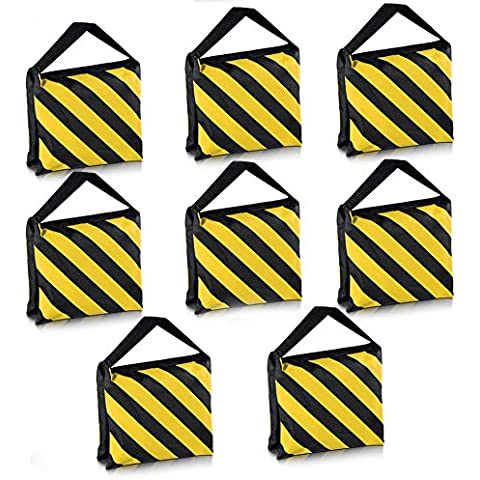 Neewer® 8 Unidades Saco de Arena de manilla doble, Negro/Amarillo Alforja para el estudio de la fotografía Vídeo Luz de escenario Cine Soportes Trípodes brazos